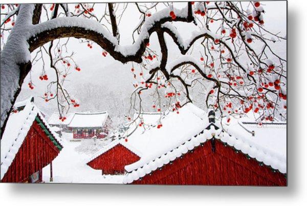 Snow In Temple Metal Print by Bongok Namkoong