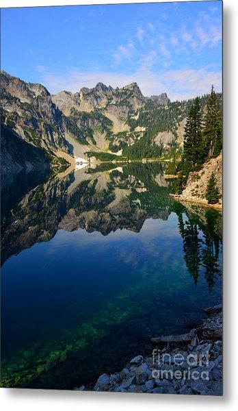 Snow Lake Reflections Metal Print