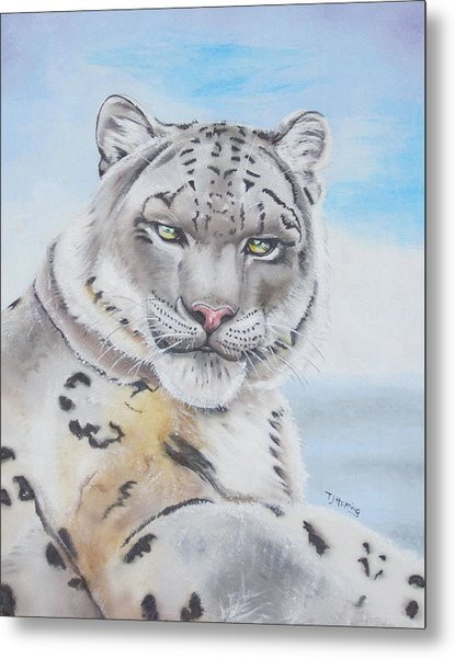 Metal Print featuring the painting Snow Leopard by Thomas J Herring