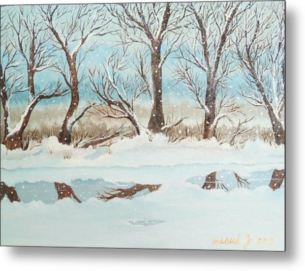 Snow On The Ema River 2 Metal Print