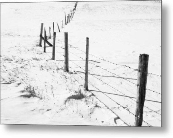 Snow Packed Fence Line Metal Print