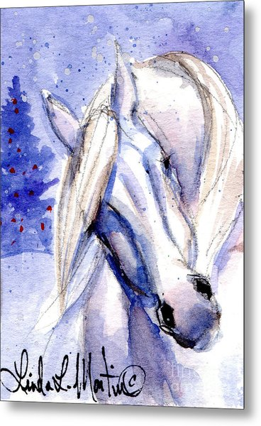 Metal Print featuring the painting Snow Pony 1 by Linda L Martin