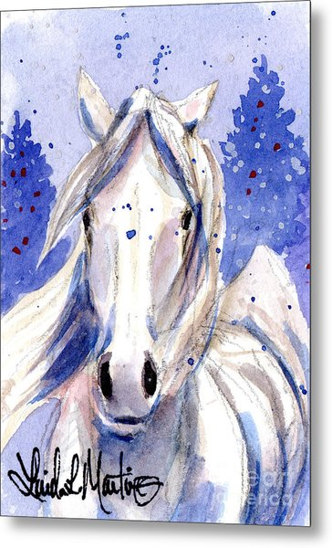 Metal Print featuring the painting Snow Pony 2 by Linda L Martin