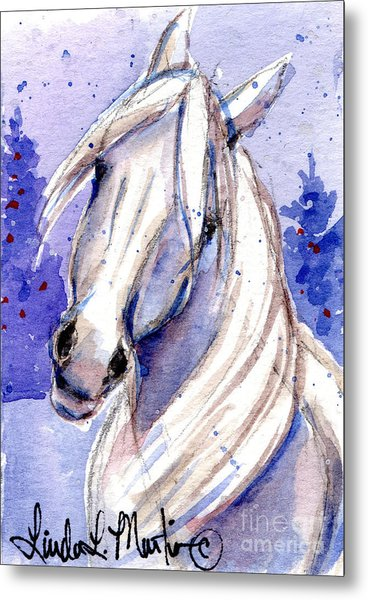 Metal Print featuring the painting Snow Pony 3 by Linda L Martin