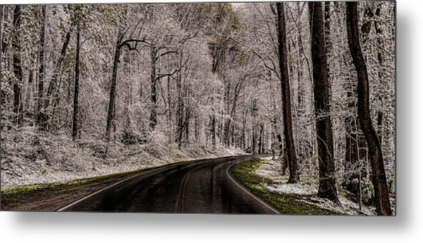 Snow Road Metal Print by Tom  Reed