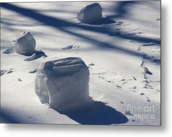 Snow Roller Trio In Shadows Metal Print