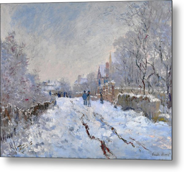 Snow Scene At Argenteuil Metal Print