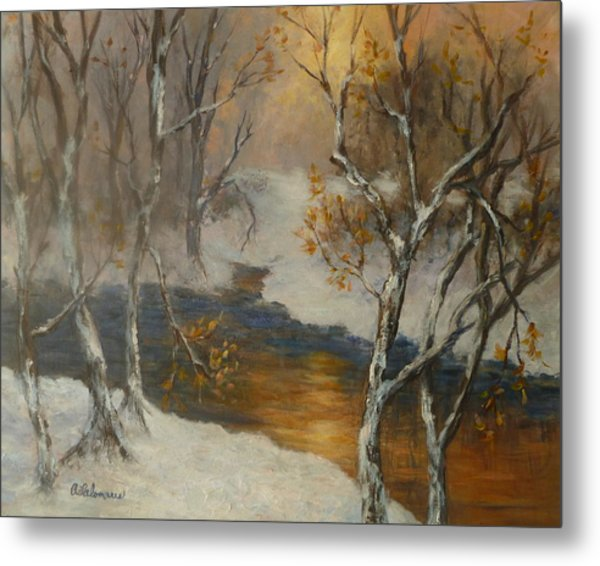 Snow Sunset Paintings Metal Print
