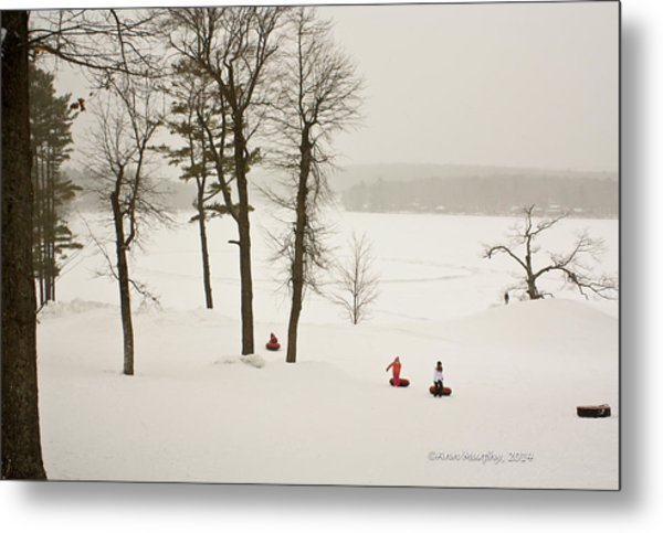 Snow Tubing In The Poconos Metal Print