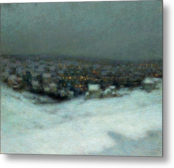 Snow Under The Moon Metal Print