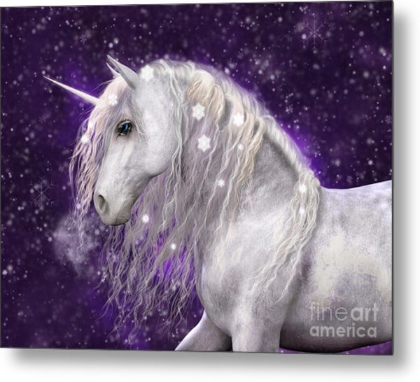 Snow Unicorn With Purple Background Metal Print
