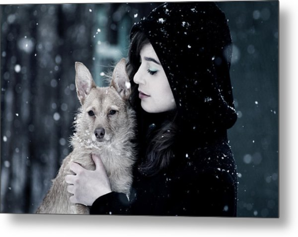 Snow Walk Metal Print