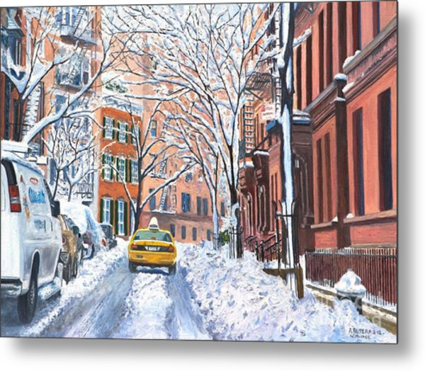 Snow West Village New York City Metal Print