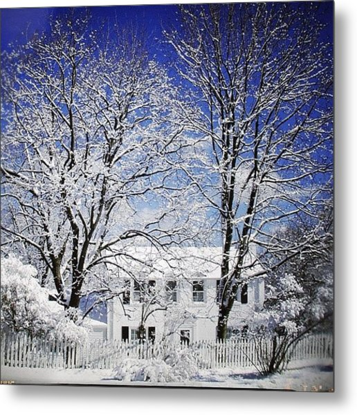 #snow #winter #house #home #trees #tree Metal Print
