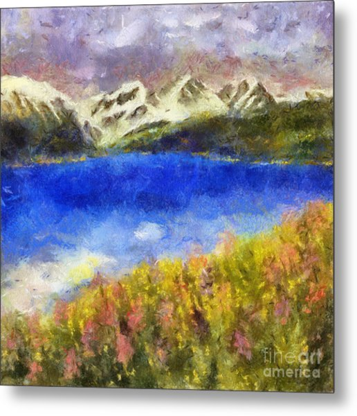 Snowcapped Blue Lake Metal Print