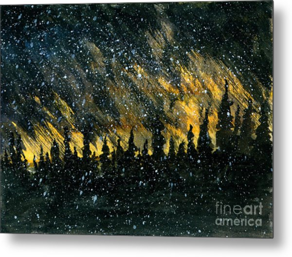 Snowfall On The Forest Metal Print by R Kyllo
