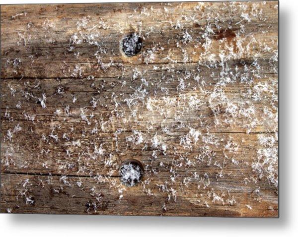 Snowflakes On Wood Metal Print by Barbara Giordano