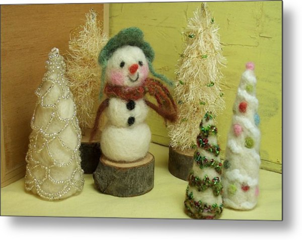 Snowman And Trees Holiday Metal Print