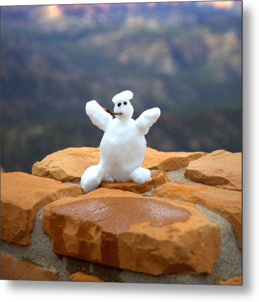 Snowman At Bryce - Square Metal Print
