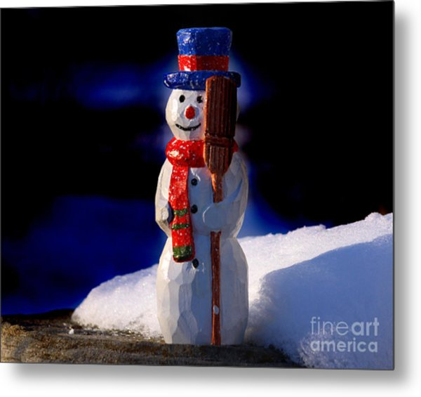 Snowman By George Wood Metal Print