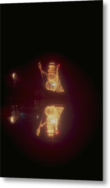 Snowman In Lights Metal Print by Eb Guenther