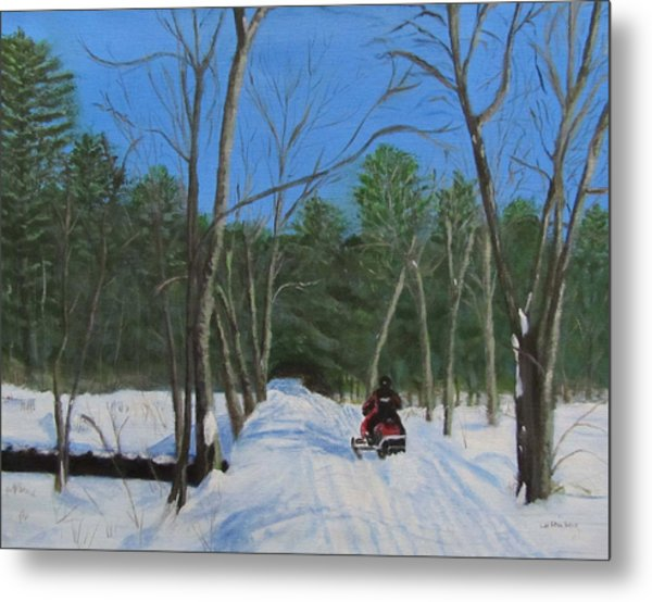 Snowmobile On Trail Metal Print