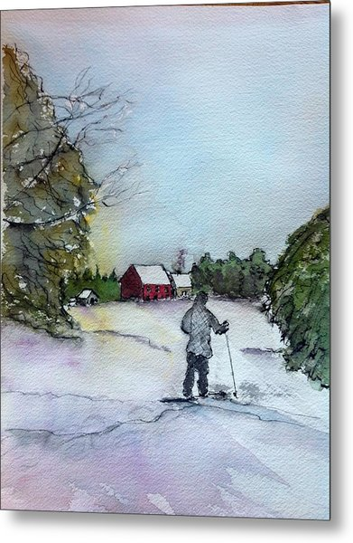 Snowshoeing In Northern Maine Metal Print by Peggy Bosse