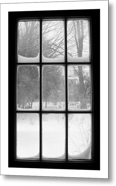 Snowstorm Outside The Windowpanes Metal Print
