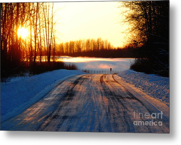 Snowy Anchorage Sunset Metal Print
