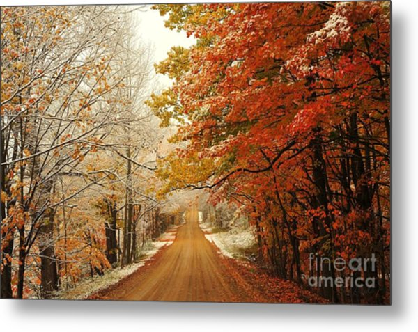 Snowy Autumn Road Metal Print