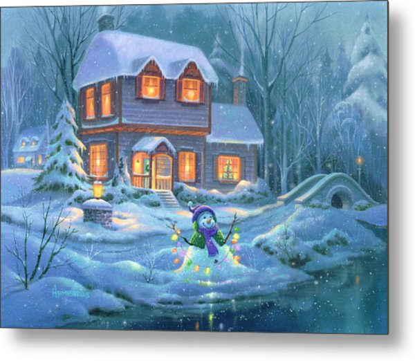 Snowy Bright Night Metal Print