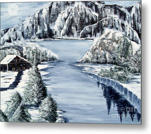 Snowy Cabin By The Lake Metal Print