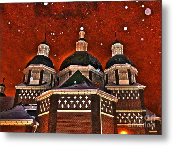 Snowy Christmas Night Metal Print