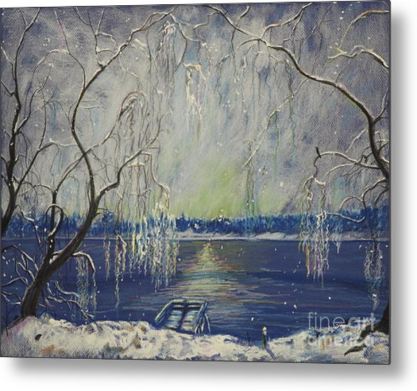 Snowy Day At The Lake Metal Print
