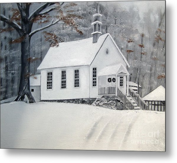 Snowy Gates Chapel  -little White Church - Ellijay Metal Print