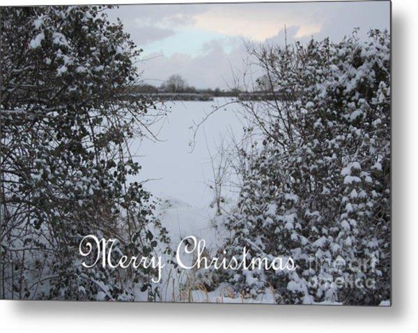 Snowy Heart For Christmas Metal Print