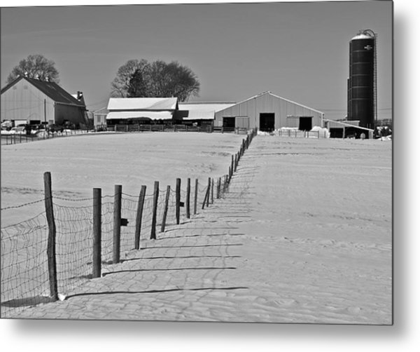 Snowy Pastoral Scene  At The Sheep Farm Metal Print by Thomas Camp
