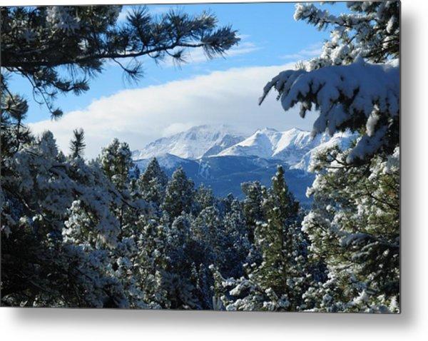 Snowy Pikes Peak Metal Print
