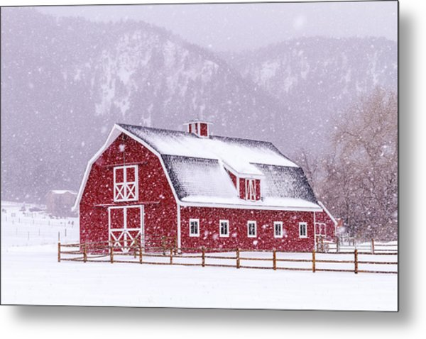 Snowy Red Barn Metal Print