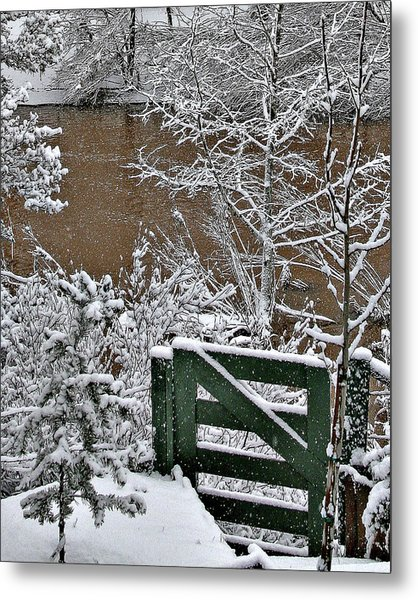 Snowy River Gate Metal Print
