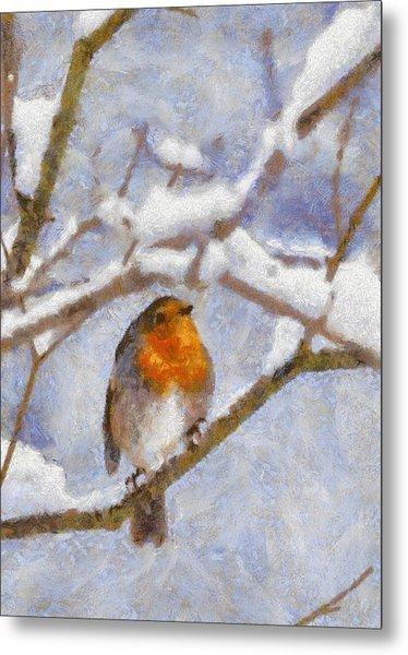Snowy Robin Metal Print