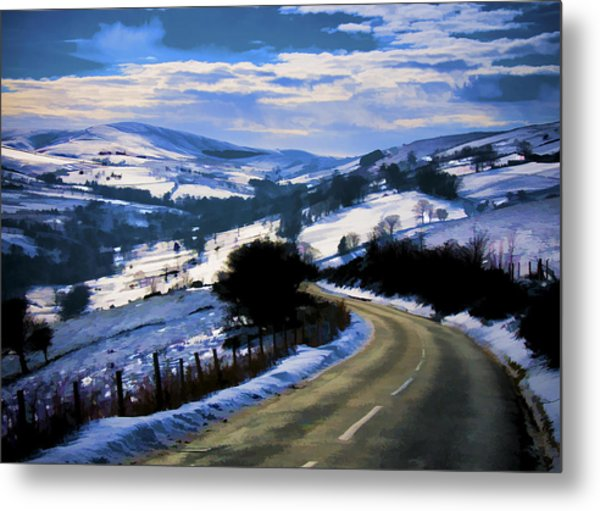 Snowy Scene And Rural Road Metal Print