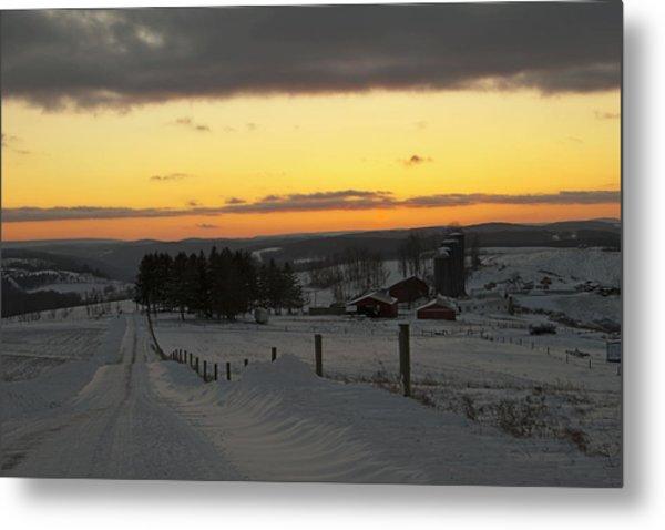 Snowy Pennsylvania Sunset Metal Print