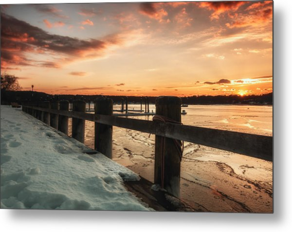 Snowy Sunset In Northport New York Metal Print