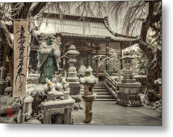 Snowy Temple Metal Print