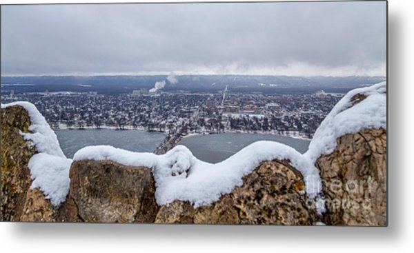 Metal Print featuring the photograph Snowy View From Garvin Heights Winona by Kari Yearous