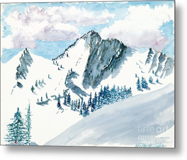 Snowy Wasatch Peak Metal Print