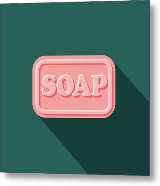 Soap Flat Design Cleaning Icon With Metal Print