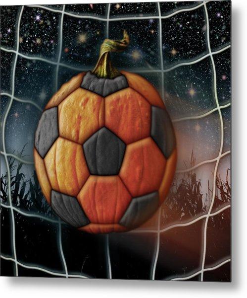 Soccer Ball Pumpkin Metal Print