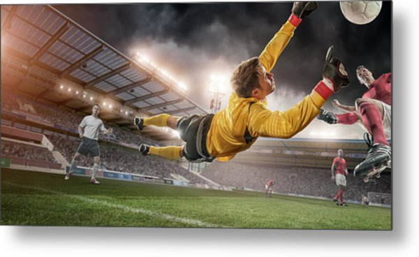 Soccer Goalie In Mid Air Save Metal Print by Peepo
